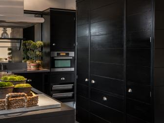 Transitional Kitchen With Black Cabinets