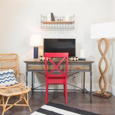 Coastal Home Office With Red Chair