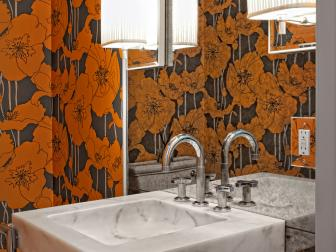 Orange Floral Powder Room With Midcentury Modern Influences