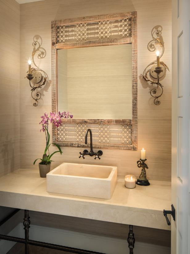 Small Beige Bathroom With Rattan Mirror