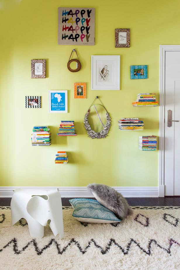 Yellow Contemporary Kids Room With Floating Bookshelves & Gallery Wall