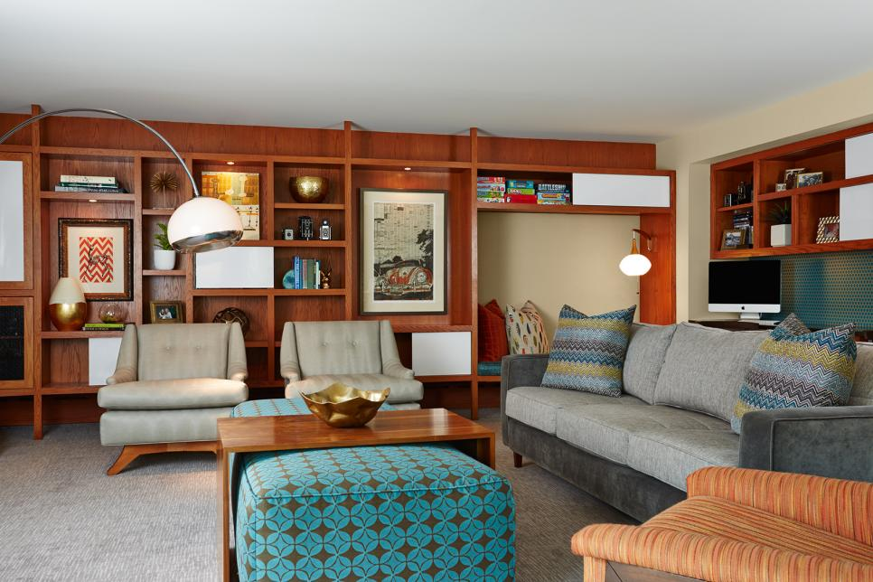 Midcentury Living Area With Built-In Bookshelves & Gray Furniture