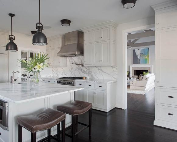 White Transitional Kitchen With Brown Barstools