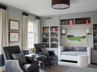 Gray Transitional Sitting Room With Leather Armchairs