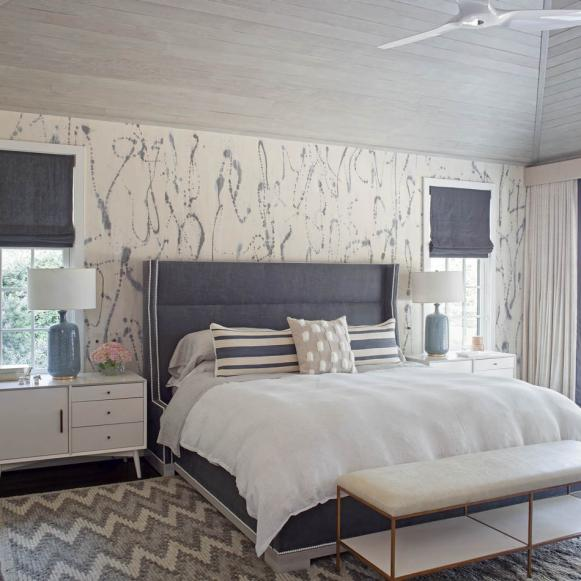 Gray Contemporary Bedroom With Bench