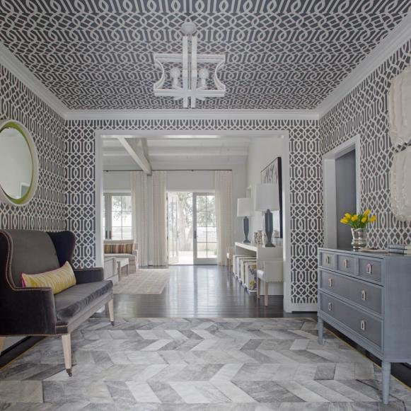 Gray Contemporary Foyer With Sofa