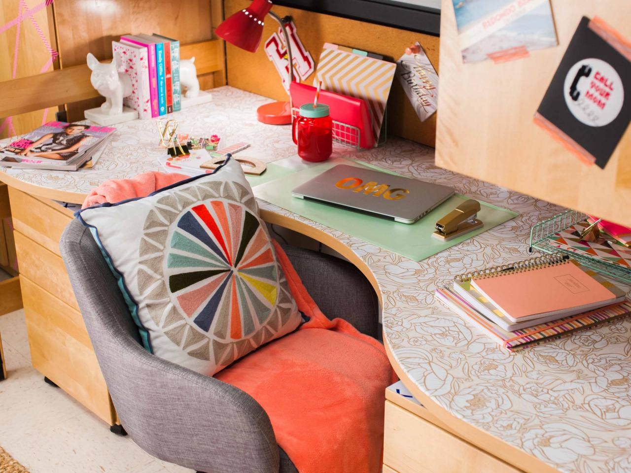 Dorm Room Takeover Desk Decoration With Salmon Throw Blanket Wall Paper Desk Top And Colorful School Supplies