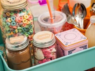 Dorm Room Takeover Food Storage Jars With Sticker Labels Create Colorful Display