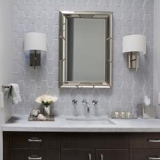 Classy Transitional Bathroom With Hexagonal Tile Backsplash, Dark Wood Vanity Cabinetry and Silver Accents