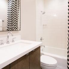 A Chevron Black and White Shower Curtain Adds Whimsy to the Bath