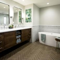 Spa Bathroom with Freestanding Tub and Long, Contemporary Vanity