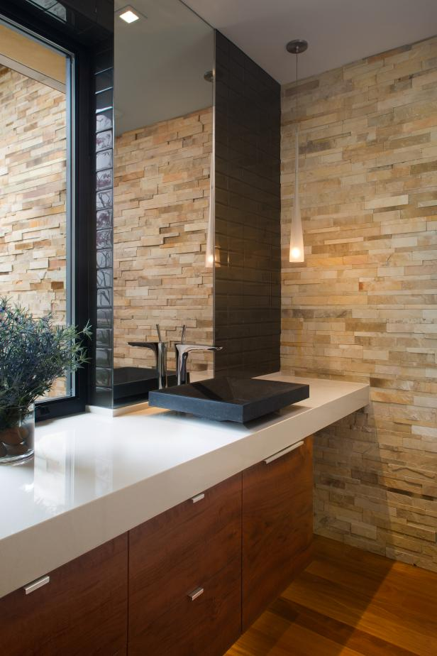Contemporary Powder Room With Stacked Stone Accent Wall Hgtv