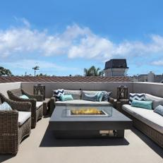 Marvelous Roof Deck With Wicker Furniture