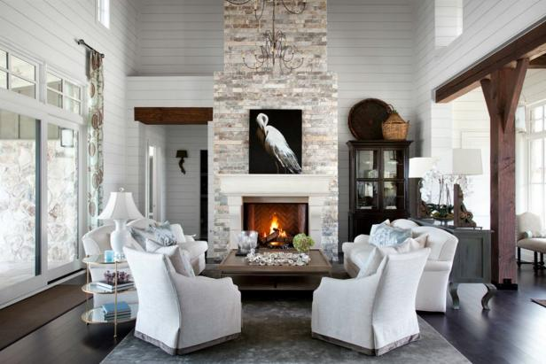Contemporary Rustic White Living Room With Grand Stone