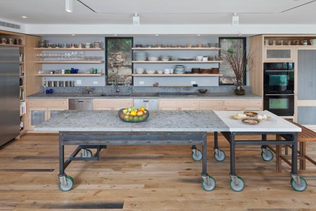 Contemporary Kitchen With Open Shelves & Industrial Island