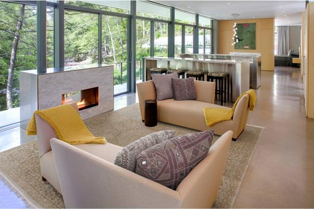 Contemporary Open Concept Home With Fireplace