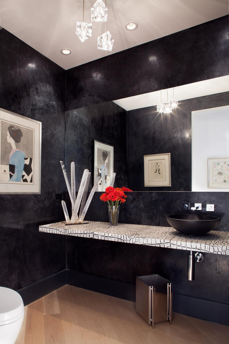 Black Contemporary Powder Room