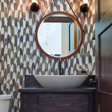 Stylish Bathroom Boasts Feather-Patterned Wallpaper