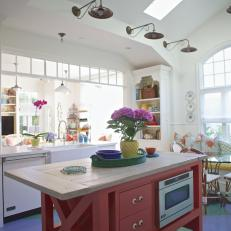 White Cottage Kitchen With Red Island