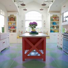 Multicolored Cottage Kitchen With Argyle Floor