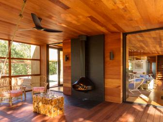 Modern Wood-Paneled Porch With Stove