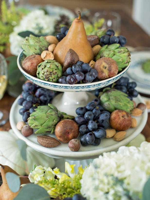 Cake-Stand Centerpiece Full of Fall Fruit
