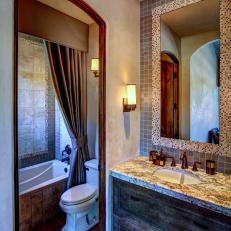 Neutral Bathroom Features Old World Style