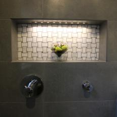 Beau Shower Niche With White Basket Weave Tile