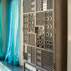 Contemporary Wood Cabinet Features Mixed Patterns