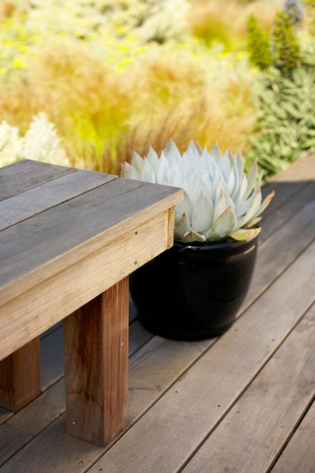 Wood Deck with Plant in Black Pot