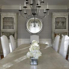 Elegant Gray Dining Room Feels Light Airy