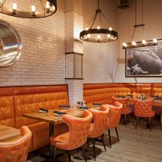 Bold Orange Seating: Maggie McFly's Interior
