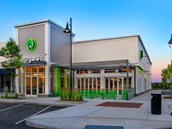 Contemporary Wahlburgers Exterior with Green Accents
