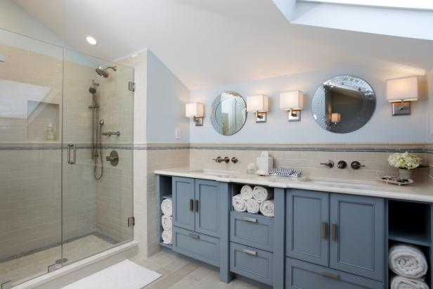 Bathroom Features Blue Double Vanity & Walk-In Shower