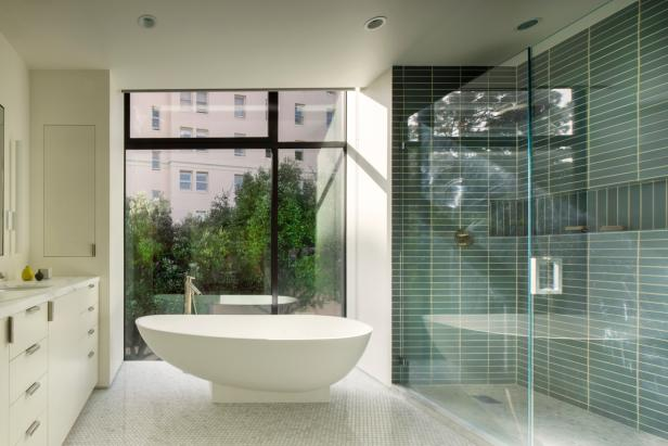 Sleek, Modern Bathroom With Freestanding Tub & Glass Shower