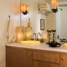 Loft Bathroom Features Onyx Vessel Sinks & Sconces