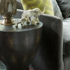 Detail of Drum End Table Features Lamp & Elephant Sculptures