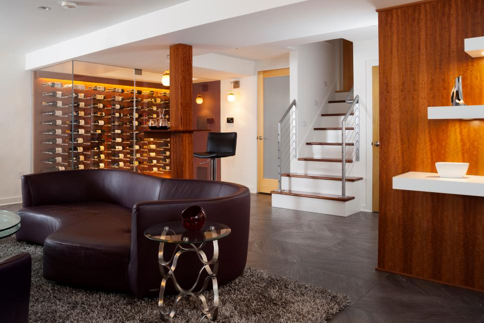 Contemporary Basement With Glass-Enclosed Wine Room