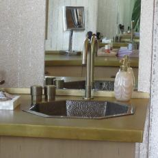 Bronze-Colored Vanity Countertop in Two-Story Closet
