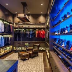 Contemporary Masculine Closet With Blue Shelf LIghting