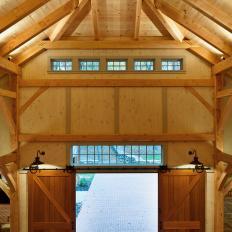 Luxury Garage Features Rustic Sliding Barn Doors