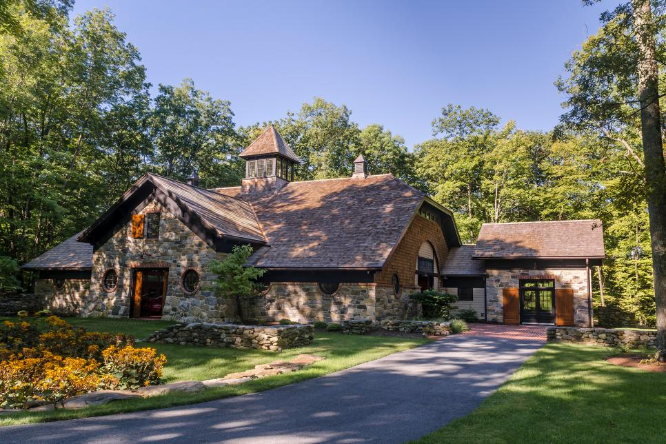 Surprising High End Car Garage Resembles Historic Stone Barn 2015 Home Interior And Landscaping Palasignezvosmurscom