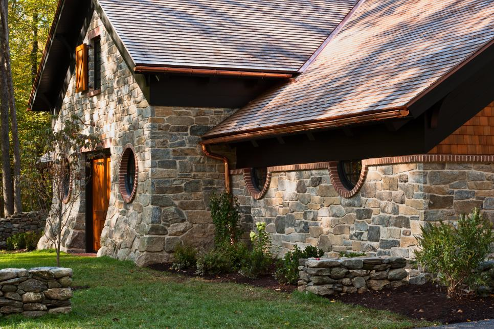 High End Car Garage Resembles Historic Stone Barn 2015
