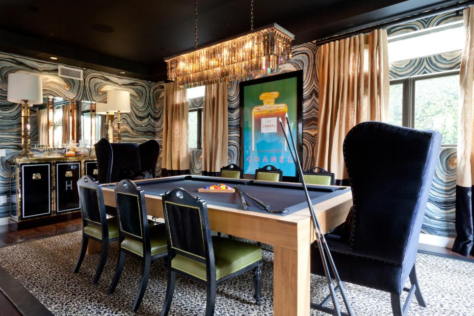 Eclectic Black Dining Room Doubles As Game Room