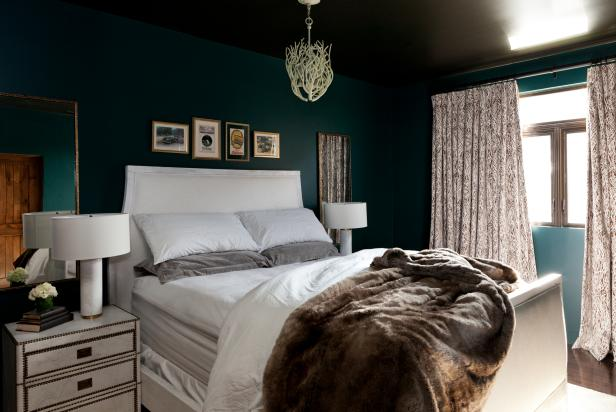 Dark Green Contemporary Bedroom With White Furniture