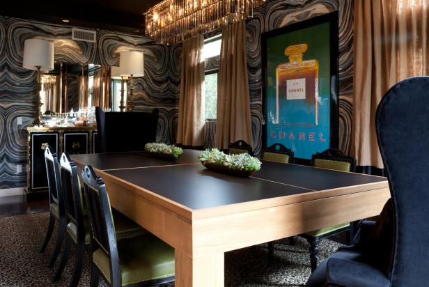 Black Eclectic Dining Room With Green Leather Chairs & Black Tabletop