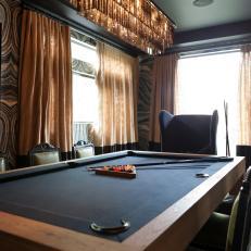 Pool Table Doubles As Dining Room Table. A Black Felt ...