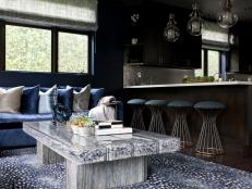 Contemporary Navy Blue Living Room Next to Kitchen
