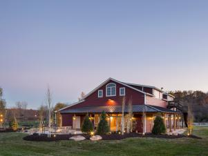 Exterior of Gorgeous Red Party Barn With Open Yard