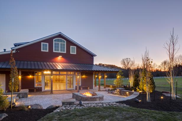 Red Party Barn Exterior With Back Patio With Square Fire Pit